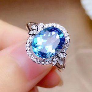 NEW 925 Sterling Silver Topaz Diamond Halo Ring